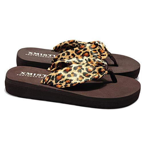 Sandalias Mujer Verano, Estilo Bohemio Cinta Seda Decorado, Zapatillas Antideslizantes de Playa, Leopardo, 41 EU (27cm)