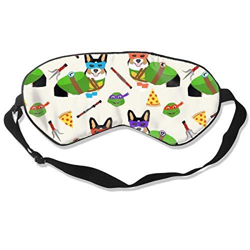 Tri Corgi Ninja Turtle Dog, Honden, Cartoon, Kostuum 100% Zijde Slaap Masker Comfortabele Niet-Toxisch, Geurloos en Onschadelijk, Zachte Blindfold Oogmasker Goed voor Reizen en Slaap