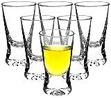 Premium Schnapsgläser Shotgläser 6-teiliges Set Glas 2,5cl (25ml) - Standfest - Spülmaschinenfest - Pinnchen Wodka Ouzo Vodka Tequila Whiskey Stamper