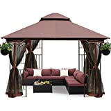 ECOTOUGE 10FT Outdoor Gazebo for Patios, Double Waterproof Soft-top...