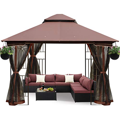 ECOTOUGE 10FT Outdoor Gazebo for Patios, Double Waterproof Soft-top Canopy, Garden Tent with Netting...