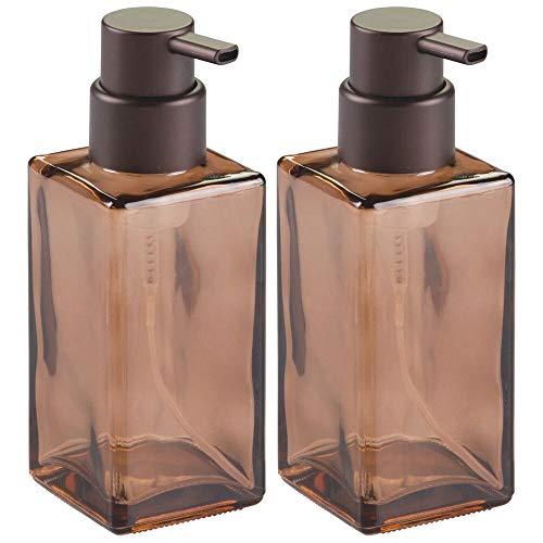 mDesign 2er-Set Schaumseifenspender für Küche und Badezimmer – rechteckiger Pumpseifenspender aus Glas – ideal für 414 ml Seife oder Spülmittel – sandfarben/bronzefarben