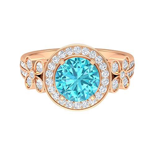 Swiss Blue Topaz Solitaire Ring, D-VSSI Moissanite Gold Ring, Art Deco Engagement Ring (8 MM Swiss Blue Topaz), 14K Rose Gold, Size:UK X1/2
