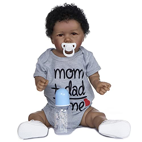 22 inch Reborn Baby Dolls Boy Full Body Silicone African American Newborn Open Eyes Black Skin Look Real Toddler Baby