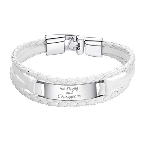 Custom4U Bracelet Cuir Gourmette à Graver,Bracelet Blanc Prénom Personnalisé 20cm,Bijoux Cadeau Personnalisé pour Anniversaire Noel Hommes,Femmes