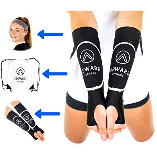 Upward Fitness - Volleyball Arm Sleeves for Girls and Boys -Package Deal Bundle- Protect Arms from Sting -Pass Ball from Correct Forearm Spot Consistently - with Athletic Headband and Drawstring Bag
