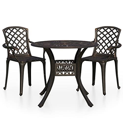 vidaXL Bistroset 3-TLG. Balkonset Gartenmöbel Balkonmöbel Sitzgruppe Gartenset Gartentisch Gartenstuhl Tisch Stühle Aluminiumguss Bronzen