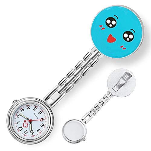 nohbi Elegante Analogico Cuarzo Reloj de Bolsillo,Reloj de Bolsillo portátil de Enfermera con alfiler,Batas de Personal médico Reloj de Bolsillo-C,Reloj Médico de Bolsillo Colgante