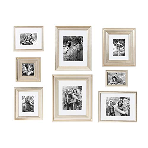 Kate and Laurel Odessa Gallery Wall 8 Piece Frame Set with Assorted Size Frames, Champagne Gold