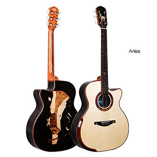 JIAXING Guitarra acústica de madera maciza hecha a mano de 41 pulgadas, 12 constelaciones, Aries