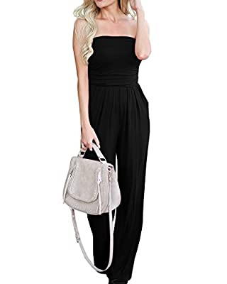 Imysty Womens Summer Sleeveless Strapless Jumpsuits Wide Leg Rompers with Pockets