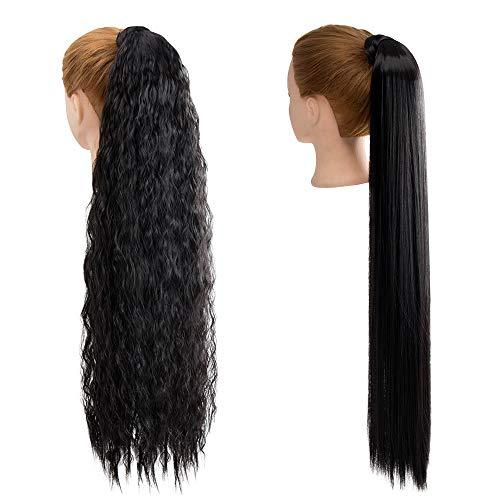 2 Stück 30 Zoll lang schwarz gerade und lockige Pferdeschwanzhalter Haarverlängerung um Pferdeschwanzverlängerungen synthetischen Clip in Pferdeschwanz Haarverlängerungen Haarteil für Frauen wickeln