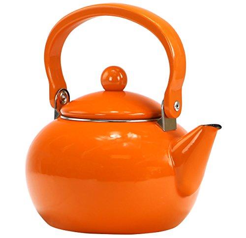 Reston Lloyd Enamel Teakettle Non-Whistling, 2 Quart, Orange
