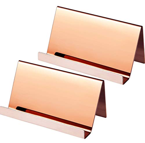HWT ショップカード スタンド 名刺置き 卓上 2個 ピンク ゴールド ステンレス 名刺スタンド (ピンクゴールド 2個)