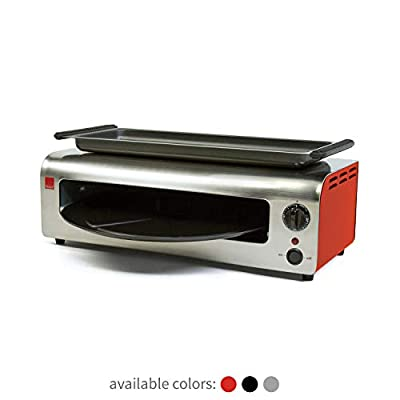 Ronco Pizza and More, Pizza Oven with Warming Tray, Countertop Open-Air Convection Oven, Cooks 40% Faster, Party Convection Oven, Automatic Shut-Off Timer, Includes Warming Tray and Non-Stick Pan, Dishwasher Safe Accessories (Red Stainless)