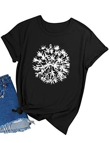 YNALIY Damen T-Shirt Pusteblume Aufdruck Kurzarm Oberteile Print Basic Shirt Tee Top