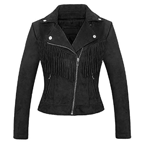 CHARTOU Women's Stylish Notched Collar Oblique Zip Suede Leather Moto Jacket (Small, Tassel-Black)