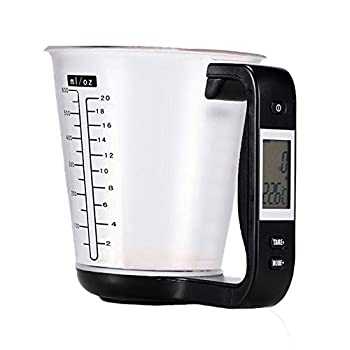 Large Capacity Measuring Cup Kitchen Measuring Jug Scale Digital Beaker Electronic Tool Scale with LCD Display Temperature Measuring Cup Kitchen Accessories  Black