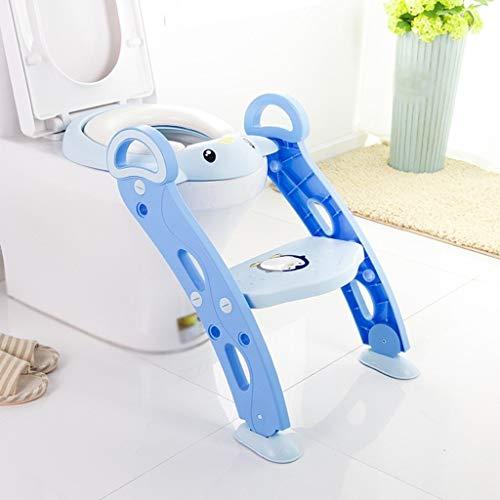 Lovebaby Siège d'enfant pour siège de toilette Potty Trainer avec échelle Step Up, conception détachable pliante universelle pour enfants de 1 à 7 ans/jardin d'enfants (Color : Blue)
