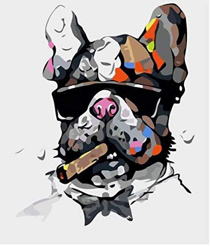 UTYG Kit de Pintura al óleo de Bricolaje para niños Principiantes Perro fumando con Gafas Col16 * 20 Pulgadas