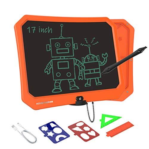 VNVDFLM 17-Zoll-LCD-Kinderzeichenbrett, Jungen & Mädchen im Alter von 3, 4, 5, 6, 7 & 8 Jahren, Lernwerkzeuge, Handschrifttafel Memo-Büro-Rekordbrett, bestes Kinderspielzeug (orange)