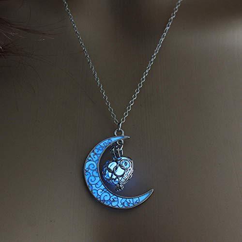 WQZYY&ASDCD Collar De Mujer Señoras Collar Brillante En Forma De Luna Joyas Chapadas En Plata Encanto De Moda Collar De Piedra Luminoso Regalo-Azul