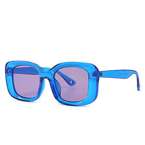 Gafas De Sol Hombre Mujeres Ciclismo Gafas De Sol Vintage Hombres Mujeres Moda Gafas De Sol Cuadradas Gafas De Montura Transparente Gafas Retro Negras-Azul