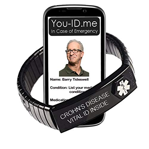 Crohn's Disease Medical Alert Bracelet. Expanding Stainless Steel Enclosure 2X ICE Insert Cards 100% Waterproof. Updateable. Works with www.You-ID.me Emergency ID SOS Alert Service