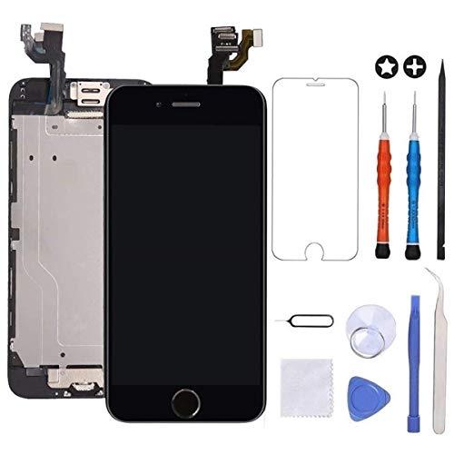Brinonac Für iPhone 6 Display LCD Touchscreen Kompletter Ersatz Bildschirm Vorinstallierte Frontkamera Hörmuschel Lautsprecher Näherungssensor mit Werkzeug (Schwarz)