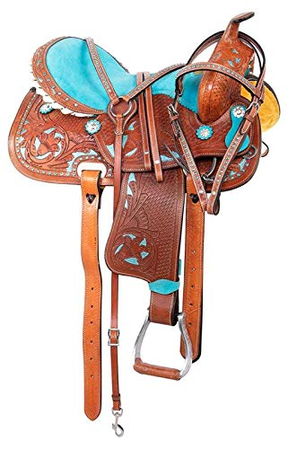 Wonder Wish Western Barrel Racing - Sillín para caballo (piel), color azul turquesa