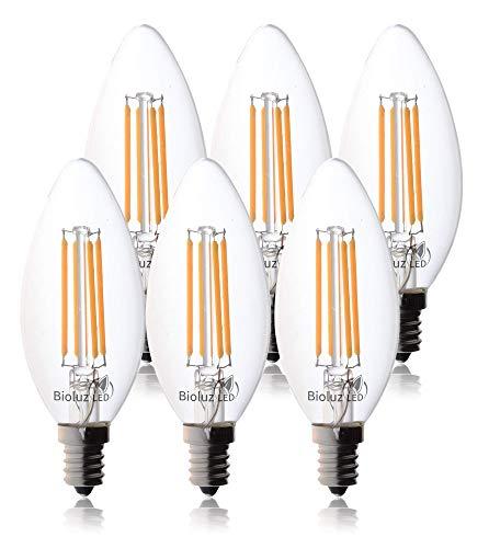 60 Watt Candelabra Bulbs Bioluz LED Dimmable Clear Filament LED Bulbs Using only 5.5 watts E12 Base Type B Type C Candle Bulbs Pack of 6