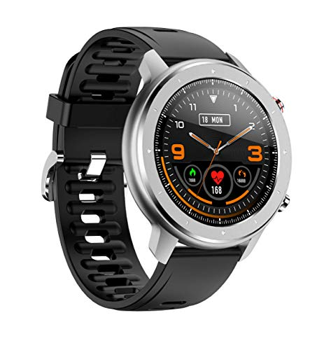 Smart Watch, Bluetooth 5.0 Fitness Tracker Works Record Steps and Calories Heart Rate Sleep Monitoring IP68 Waterproof Activity Tracker with 1.3in Full-Touch Screen for Men Women(Black)