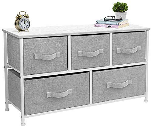 Sorbus Dresser with Drawers - Furniture Storage Chest Tower Unit for Bedroom, Hallway, Closet, Office Organization - Steel Frame, Wood Top, Easy Pull Fabric Bins (5 Drawer, White/Gray)