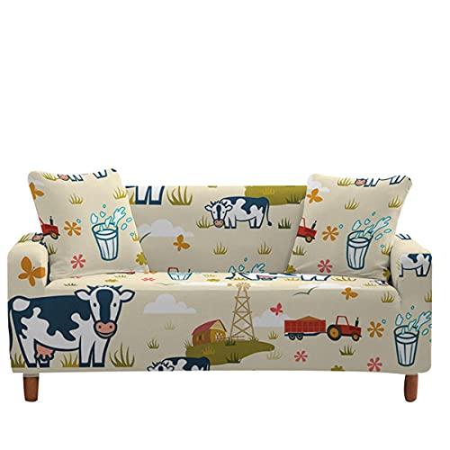 Surwin Funda de Sofá Elástica para Sofá de 1 2 3 4 plazas, 3D Vaca Impresión Universal Antideslizante Cubierta de Sofá Cubre Sofá Funda Furniture Protector (Beige,1 Plaza - 90-140cm)