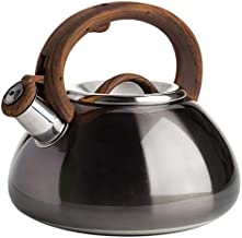 Primula PAGM1-6225 Avalon Whistling Stovetop Tea Kettle Food Grade Stainless Steel Hot Water, Fast to Boil, Cool Touch Handle, 2.5 Qt, Metallic Gunmetal