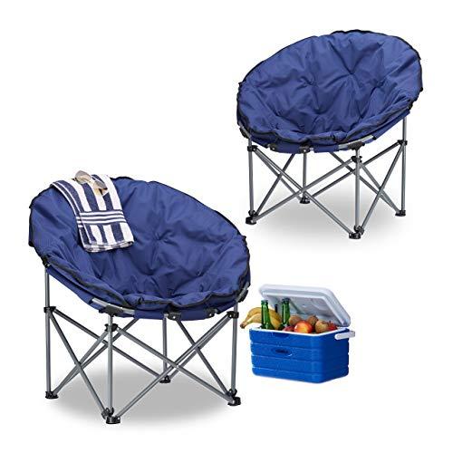Relaxdays Pack de 2 Sillas Camping Plegable XXL Moon Chair con Bolsa de Transporte, Acero y Poliéster, Azul Oscuro, 77 x 82 x 70 cm