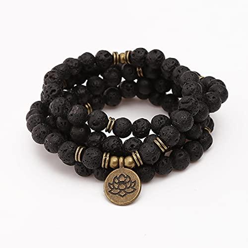 DALIU 108 Cuentas Buda Lotus Pulsera para Mujeres Hombres 8 mm Lava Rock Stone Strand Charm Pulsera o Collar joyería de Moda