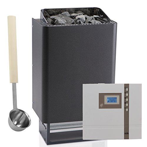 Saunaofen-Set EOS 43.FN - 7.5kW in Anthrazit mit Perleffekt + Sauna-Steuerung EOS Econ D1 + Aufguss-Schöpfkelle EXKLUSIV