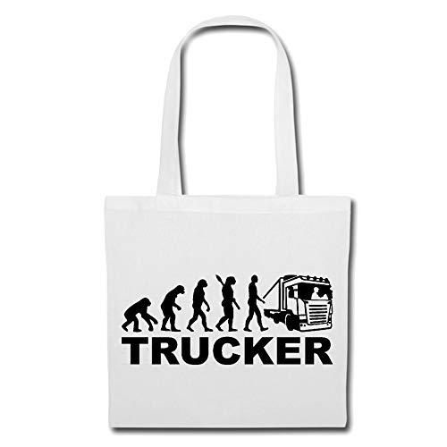 Tasche Umhängetasche LKW-Fahrer - Trucker - Fernfahrer - NAHVERKEHR - FERNVERKEHR Einkaufstasche Schulbeutel Turnbeutel in Weiß