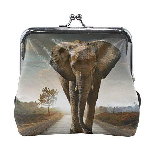 Elephant Women Buckle Lock Leather Change Purses ENV 92Y