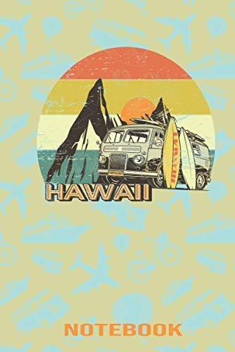 Retro Hawaii Travel Hippie Van Beach Surfer Longboard design Notebook: 6