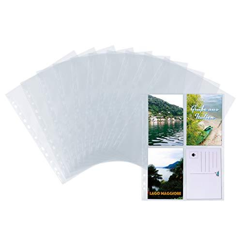HERMA 7695 Fotophan Postkartenhüllen transparent (10 x 15 cm hoch, 10 Hüllen, Folie) mit Eurolochung für Ordner, Ringalben und Ringbücher, beidseitig sichtbare Sammelhüllen