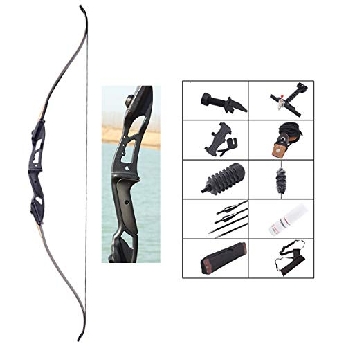 ZJJ Youth Archery Set Recurve Bow and Arrows, Hunting Longbow Kit with Quiver and Arrow Rest and Shock Absorber and Arm Guard for Adult Outdoor Garden Game,45Lbs