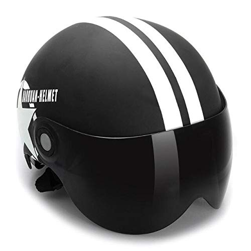 Dgtyui La visiera parasole per mezzo casco da 3/4 a mezza visiera può essere utilizzata da uomini e donne, adatta come regalo per le vacanze - Nero opaco