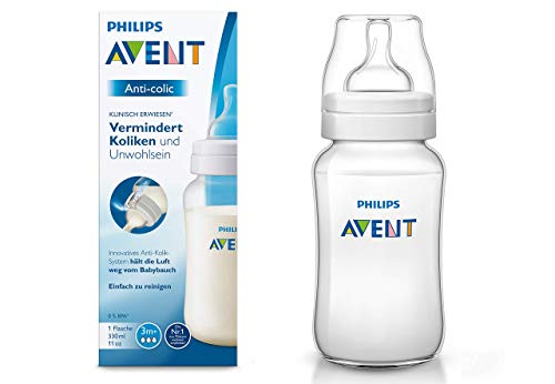Philips Avent SCF816/17 Anti-colic Flasche, mit AirFree Ventil kompatibel, 330ml, 1er Pack, transparent