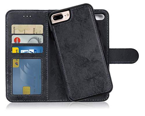 MyGadget Custodia Flip Cover 2in1 Magnetica per Apple iPhone 7 Plus / 8 Plus - Portafoglio Funzione Porta Carte - Case Similpelle PU Removibile - Nero