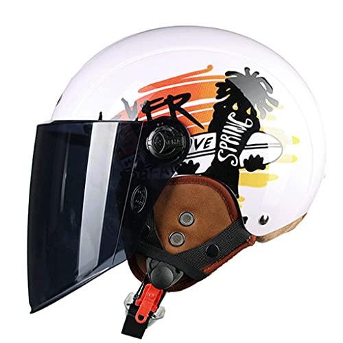 DXMRWJ Vintage Adultos Moto Coche de batería/Scooter Seguridad Gorra ECE Homologado Retro Motocicleta Cascos Hombres Mujeres Jet Ciclomotor Anticolisión Semi Casco Parasol y Lente a Prueba de Viento