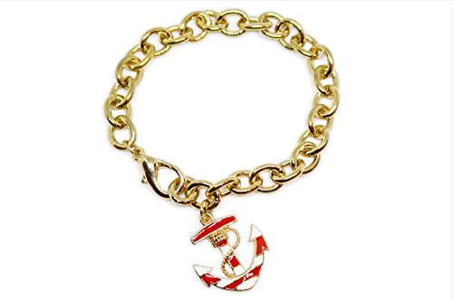 Pulsera con ancla, a tema náutico, cadena dorada con colgante ancoretta rojo