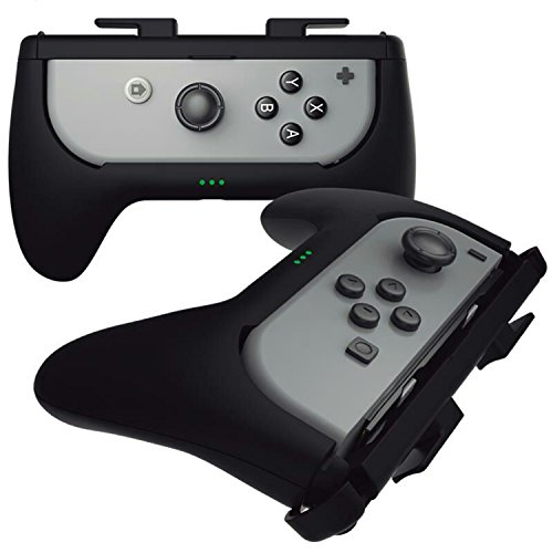 Sliq Nintendo Switch Joy Con Controller Play N Charge Grip Kit (Black) - Built-In 500 mAh Battery Charger. Charge While You Play! Perfect for Travel Case Accessories