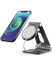 Avolare stojak na telefon, składany aluminiowy uchwyt na telefon komórkowy, kompatybilny z iPhone 12/12 Pro / 12 mini/ 12 Pro Max, magiczna ładowarka nie wchodzi w zakres dostawy, czarny